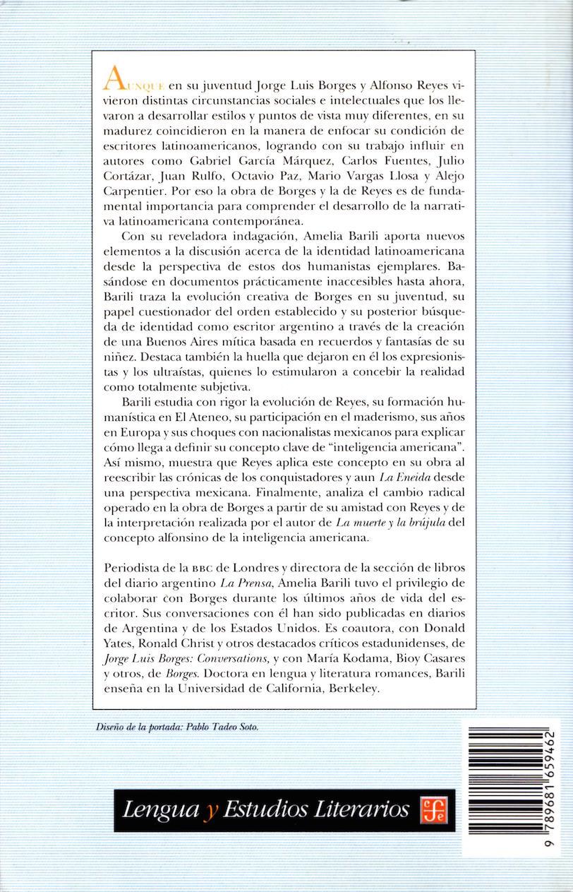 Back Cover: Jorge Luis Borges y Alfonso Reyes: la cuestión de la identidad del escritor latinoamericano